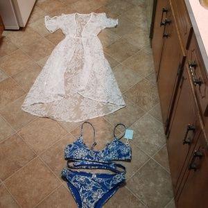 Cupshe bikini and white cover up